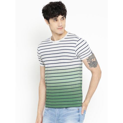 Pepe Jeans Men Grey Melange & Green Striped Dyed T-shirt