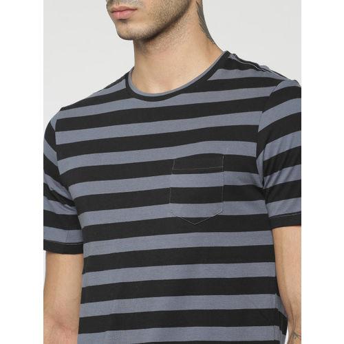 Jack & Jones Men Black & Grey Striped Round Neck T-shirt