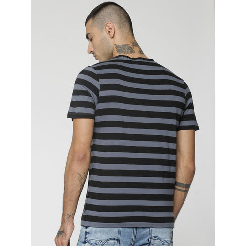 Jack & Jones Men Black & Grey Striped Round Neck T-shirt
