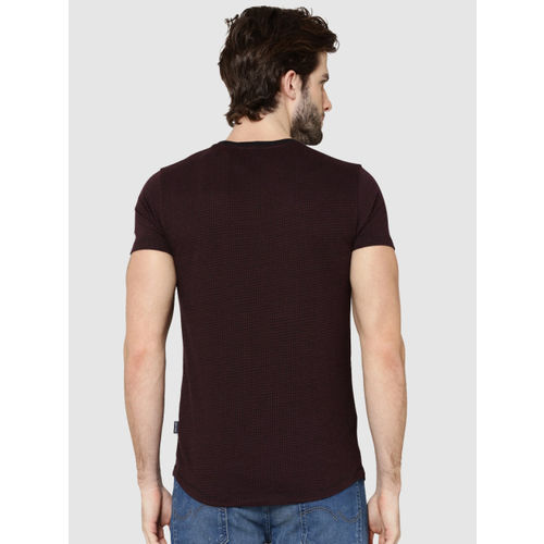 Jack & Jones Men Burgundy Self Design Round Neck T-shirt