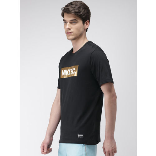 Nike Men Black Printed Standard Fit FC DRI-FIT Round Neck T-shirt