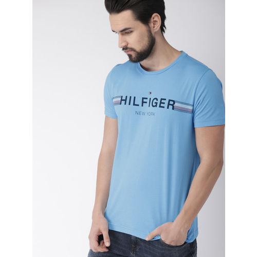 Tommy Hilfiger Blue Printed Round Neck T-shirt