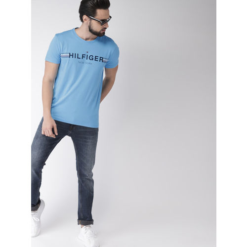 Tommy Hilfiger Blue Printed Round Neck T-shirt