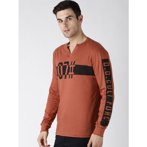 Difference of Opinion Men Brown Printed Round Neck T-shirt