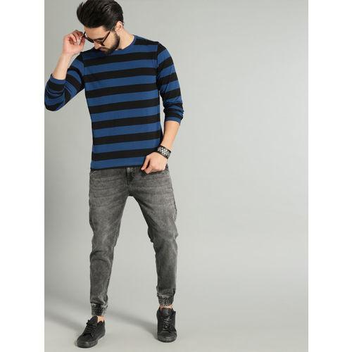 Roadster Men Navy Blue & Black Striped Round Neck T-shirt