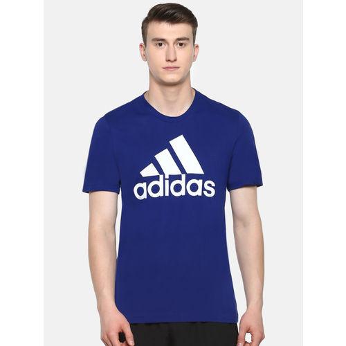 ADIDAS Men Blue ESS Linear Printed Round Neck Training T-shirt