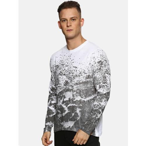 Campus Sutra Men White & Grey Printed Round Neck T-shirt