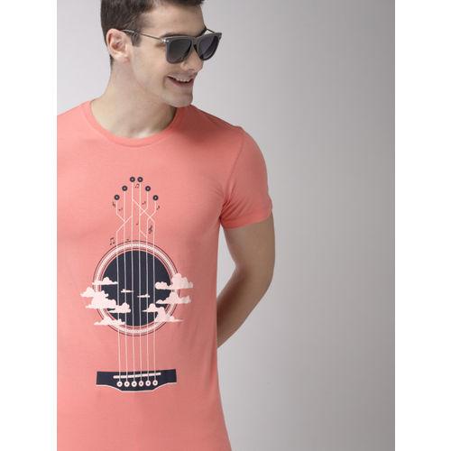 Mast & Harbour Men Peach-Coloured Printed Round Neck T-shirt