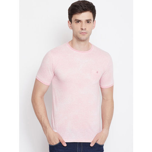 Okane Men Pink Solid Round Neck T-shirt