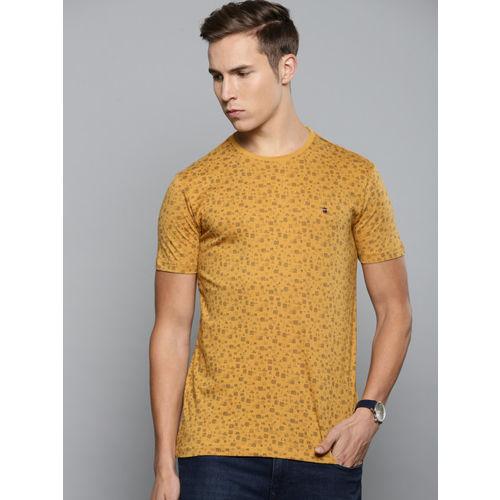Louis Philippe Jeans Men Mustard Yellow Printed Round Neck T-shirt