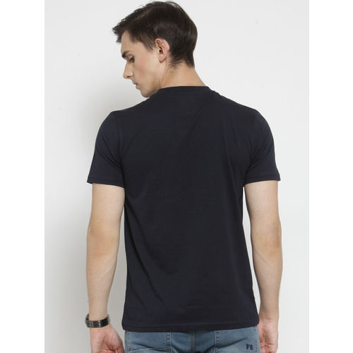 Monteil & Munero Men Navy Blue Printed Round Neck T-shirt