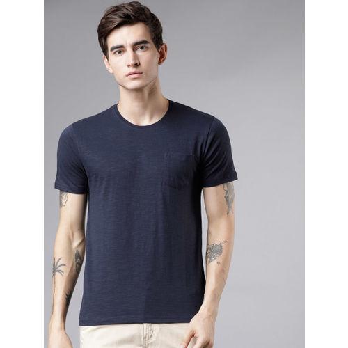 HIGHLANDER Men Navy Blue Solid Round Neck T-shirt