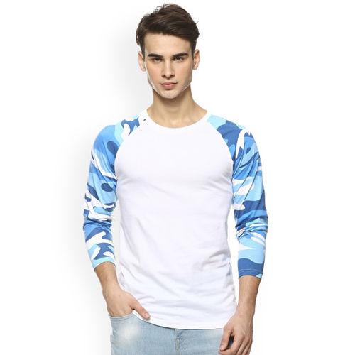 Campus Sutra Men White Solid Round Neck T-shirt