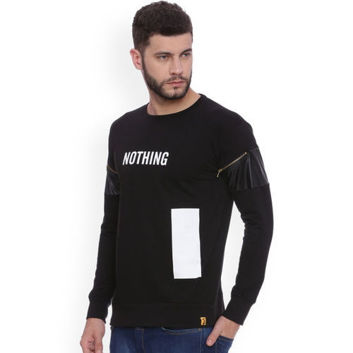 Campus Sutra Men Black Printed Round Neck T-shirt