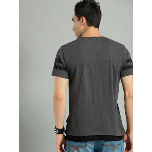 Roadster Men Charcoal Grey Printed Round Neck T-shirt