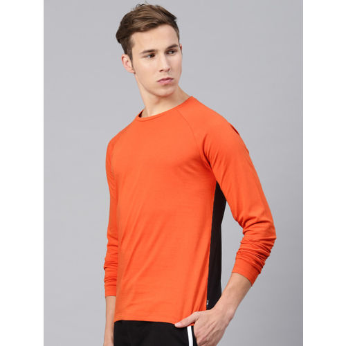 HRX by Hrithik Roshan Men Orange & Black Solid Crew Neck Lifestyle Full Sleeve Tshirt