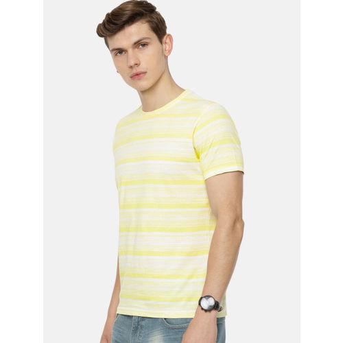 Pepe Jeans Men Yellow & White Striped Round Neck T-shirt