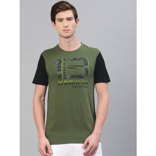 HRX by Hrithik Roshan Men Olive Green & Black Printed Crew Neck Graphic T-shirt