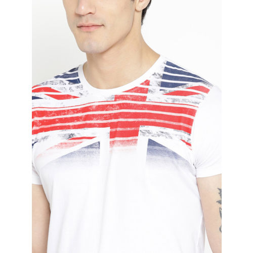 Pepe Jeans Men White & Red Printed Detail T-shirt