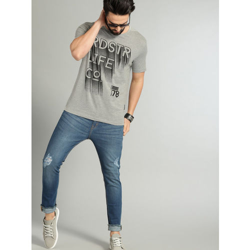 Roadster Men Grey Melange Printed Round Neck T-shirt