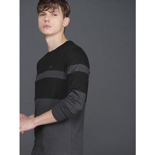 WROGN Men Black Colourblocked Round Neck T-shirt