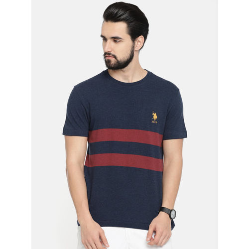 U.S. Polo Assn. Men Navy Blue Striped Round Neck T-shirt