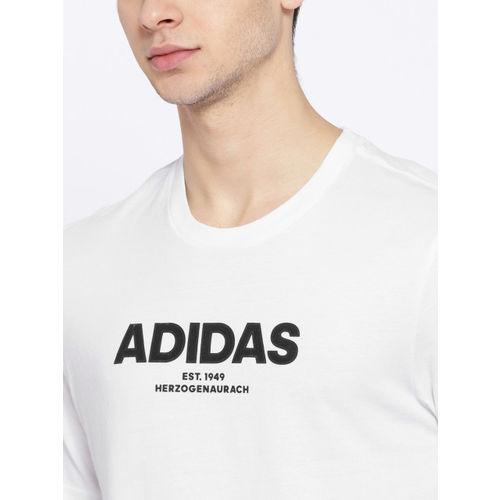 ADIDAS Men White ESS Allcap Solid Round Neck T-shirt