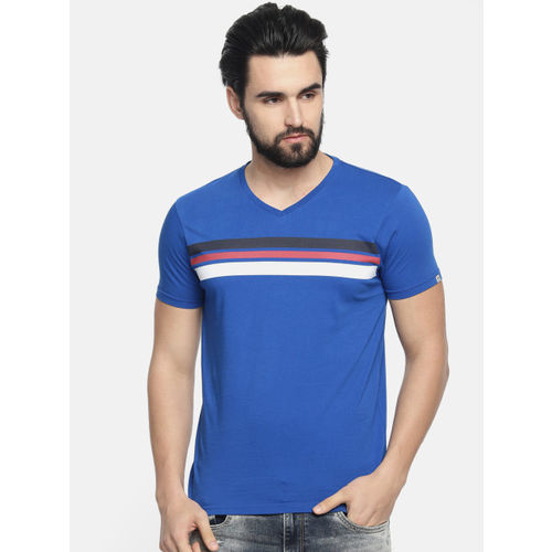Pepe Jeans Men Blue & White Striped Round Neck T-shirt