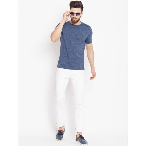 Okane Men Blue Printed Round Neck T-shirt