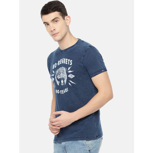 Pepe Jeans Men Navy Blue Printed Round Neck T-shirt