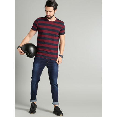 Roadster Men Navy Blue & Maroon Striped Round Neck T-shirt