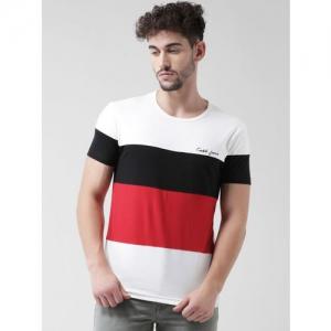 COBB Men White & Red Colourblocked Round Neck T-shirt