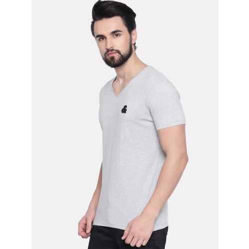Jack & Jones Men Grey Melange Solid V-Neck T-shirt