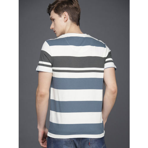 WROGN Men White & Grey Slim Fit Striped Round Neck T-shirt