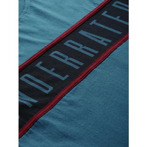 Moda Rapido Teal Blue Printed Round Neck T-shirt
