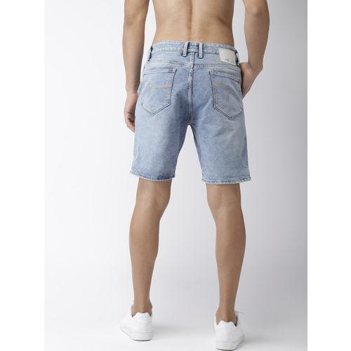 Flying Machine Men Blue Washed Slim Fit Denim Shorts