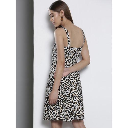 DOROTHY PERKINS Women White & Black Leopard Print A-Line Dress