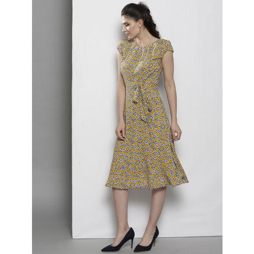 DOROTHY PERKINS Women White & Yellow Printed A-Line Dress