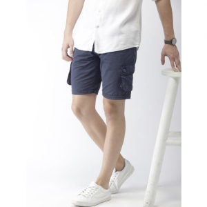 Mast & Harbour Men Navy Blue Solid Regular Fit Cargo Shorts