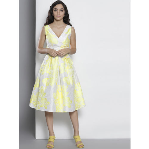 DOROTHY PERKINS Women White & Yellow Printed Fit & Flare Dress
