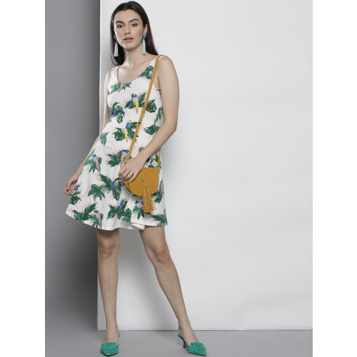 DOROTHY PERKINS Women White & Green Printed Fit and Flare Dress