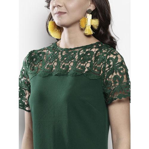 DOROTHY PERKINS Women Green Lace Detail Solid Sheath Dress