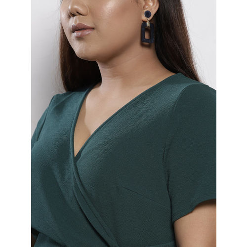 DOROTHY PERKINS Women Green Solid Wrap Dress