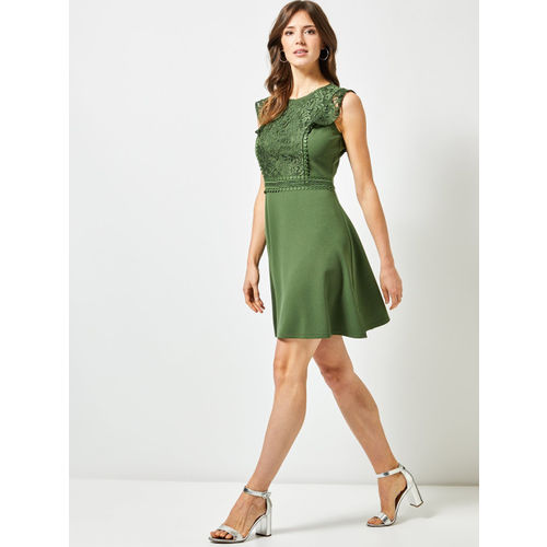 DOROTHY PERKINS Women Green Solid Fit & Flare Dress
