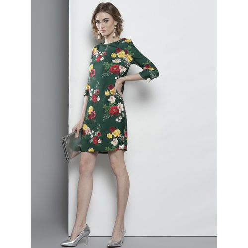 DOROTHY PERKINS Women Green & Red Printed A-Line Dress