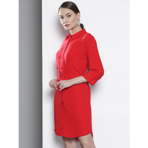 DOROTHY PERKINS Women Red Solid Shirt Dress