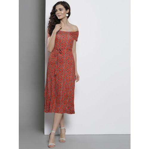 DOROTHY PERKINS Women Red & Black Printed A-Line Dress