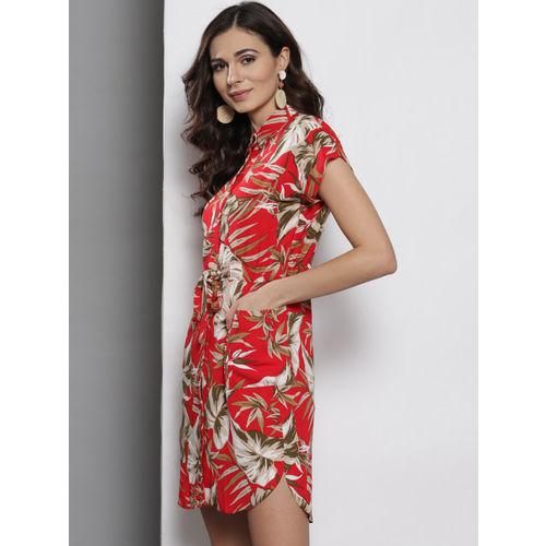 DOROTHY PERKINS Women Red & Off-White Printed Shirt Dress