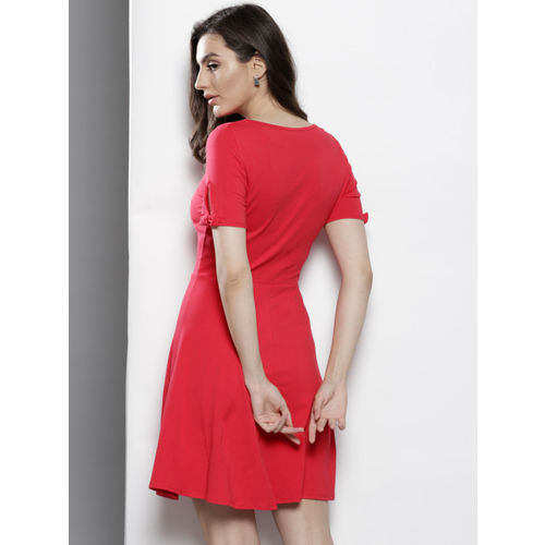 DOROTHY PERKINS Women Red Solid Fit and Flare Dress