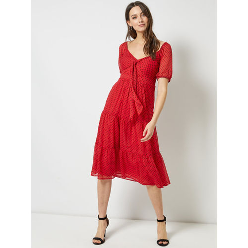 DOROTHY PERKINS Women Red & Black Printed Tiered A-Line Dress